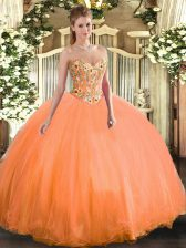 Stunning Orange Sweetheart Lace Up Embroidery Quince Ball Gowns Sleeveless