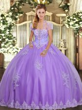 Custom Fit Lavender Ball Gowns Appliques Vestidos de Quinceanera Lace Up Tulle Sleeveless Floor Length