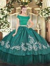 Floor Length Teal Sweet 16 Dresses Organza and Taffeta Short Sleeves Embroidery