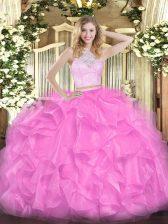 Rose Pink Scoop Neckline Lace and Ruffles Sweet 16 Dress Sleeveless Zipper