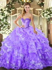 Top Selling Lavender Lace Up 15th Birthday Dress Beading and Ruffled Layers Sleeveless Floor Length