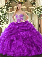 Purple Ball Gowns Beading and Ruffles and Pick Ups 15 Quinceanera Dress Lace Up Organza Sleeveless Floor Length