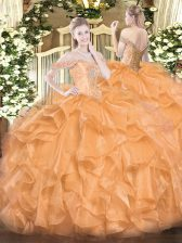 Orange Ball Gowns Beading and Ruffles Quince Ball Gowns Lace Up Organza Sleeveless Floor Length