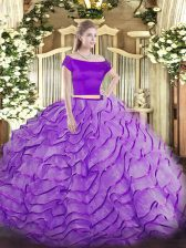 Lavender Short Sleeves Brush Train Appliques and Ruffles Quinceanera Gowns