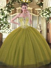 Olive Green Tulle and Sequined Lace Up Sweetheart Sleeveless Floor Length Ball Gown Prom Dress Beading