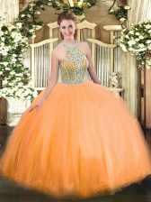 Orange Ball Gowns Halter Top Sleeveless Tulle Floor Length Lace Up Beading Quince Ball Gowns