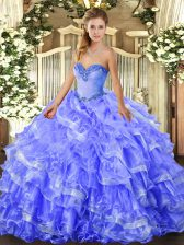 Blue Sleeveless Floor Length Beading and Ruffled Layers Lace Up 15th Birthday Dress