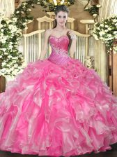 Customized Hot Pink Organza Lace Up Sweetheart Sleeveless Floor Length Vestidos de Quinceanera Beading and Ruffles