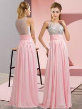 Dynamic Floor Length Empire Sleeveless Baby Pink Prom Dress Side Zipper