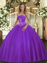 Fancy Purple Ball Gowns Beading Quinceanera Dresses Lace Up Tulle Sleeveless Floor Length