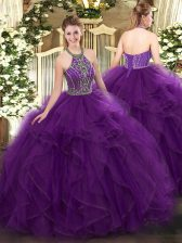 Floor Length Purple Quinceanera Dresses Tulle Sleeveless Beading and Ruffles