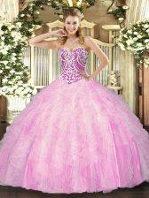 Shining Rose Pink Sleeveless Beading and Ruffles Floor Length Sweet 16 Quinceanera Dress