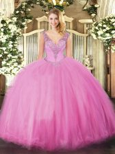 Beading Sweet 16 Quinceanera Dress Rose Pink Lace Up Sleeveless Floor Length