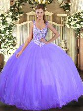 Admirable Scoop Sleeveless Tulle Vestidos de Quinceanera Beading Lace Up