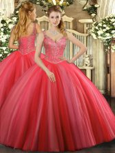 Coral Red Sleeveless Tulle Lace Up Vestidos de Quinceanera for Military Ball and Sweet 16 and Quinceanera