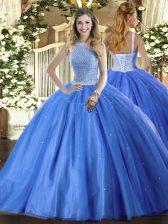 New Arrival High-neck Sleeveless Quinceanera Gowns Floor Length Beading Baby Blue Tulle