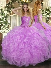 Luxury Lilac Ball Gown Prom Dress Military Ball and Sweet 16 and Quinceanera with Beading and Ruffles Sweetheart Sleeveless Lace Up