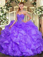 Floor Length Lavender Sweet 16 Quinceanera Dress Sweetheart Sleeveless Lace Up