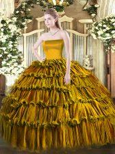 Glorious Brown Organza Zipper Quince Ball Gowns Sleeveless Floor Length Ruffled Layers