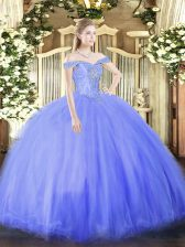 Colorful Floor Length Blue 15 Quinceanera Dress Off The Shoulder Sleeveless Lace Up