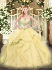 High End Gold Tulle Lace Up Quince Ball Gowns Sleeveless Floor Length Beading and Ruffles