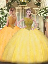 Elegant Gold Sleeveless Tulle Zipper Ball Gown Prom Dress for Sweet 16 and Quinceanera