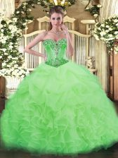 Organza Sleeveless Floor Length Quinceanera Dress and Beading and Ruffles and Pick Ups