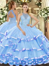 Smart Halter Top Sleeveless Organza Quinceanera Dress Beading and Ruffled Layers Lace Up