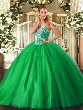 Sumptuous Straps Sleeveless Tulle Quinceanera Dresses Beading Lace Up
