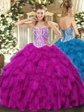 Clearance Fuchsia Ball Gowns Sweetheart Sleeveless Tulle Floor Length Lace Up Beading and Ruffles Quinceanera Dresses
