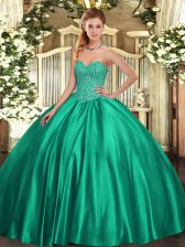 Sleeveless Satin Floor Length Lace Up Vestidos de Quinceanera in Turquoise with Beading