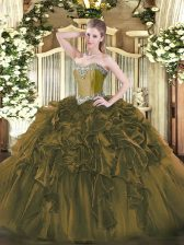 New Style Sleeveless Organza Floor Length Lace Up 15 Quinceanera Dress in Olive Green with Beading and Ruffles