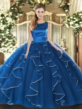 Nice Tulle Scoop Sleeveless Lace Up Ruffles Ball Gown Prom Dress in Blue