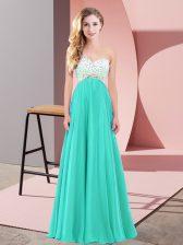 Sleeveless Criss Cross Floor Length Beading Evening Dress