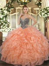 Stylish Orange Sleeveless Beading and Ruffles Floor Length Quince Ball Gowns