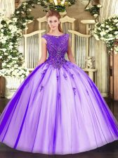 New Arrival Purple Tulle Zipper Vestidos de Quinceanera Sleeveless Floor Length Beading and Appliques