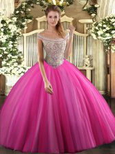 Hot Pink Ball Gowns Beading Ball Gown Prom Dress Lace Up Tulle Sleeveless Floor Length