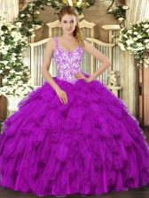Fashionable Fuchsia Sleeveless Organza Lace Up Ball Gown Prom Dress for Sweet 16 and Quinceanera