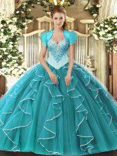 Discount Sleeveless Beading Lace Up Sweet 16 Dress