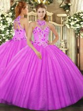 Sleeveless Floor Length Beading and Embroidery Lace Up Ball Gown Prom Dress with Fuchsia