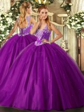 Charming Tulle Straps Sleeveless Lace Up Beading Vestidos de Quinceanera in Purple