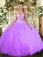 Fashion Floor Length Lavender Quinceanera Dress Straps Sleeveless Lace Up