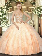 Colorful Peach Straps Lace Up Beading and Ruffles Quinceanera Gowns Sleeveless