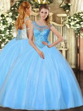 Shining Sleeveless Floor Length Beading Lace Up Quinceanera Dresses with Baby Blue