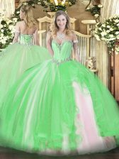 Clearance Sleeveless Floor Length Beading and Ruffles Lace Up Quinceanera Dress
