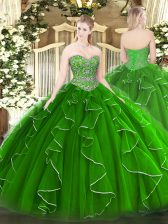 Superior Green Sweetheart Neckline Beading and Ruffles Vestidos de Quinceanera Sleeveless Lace Up