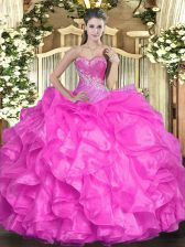 Sexy Sleeveless Beading and Ruffles Lace Up Quinceanera Dresses