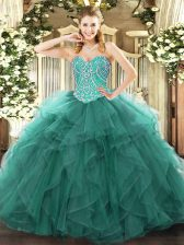 Beading and Ruffles Ball Gown Prom Dress Turquoise Lace Up Sleeveless Floor Length