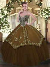 Brown Sweetheart Neckline Beading and Embroidery Sweet 16 Dress Sleeveless Lace Up
