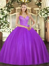 Eye-catching Eggplant Purple Sleeveless Floor Length Beading Lace Up 15th Birthday Dress
